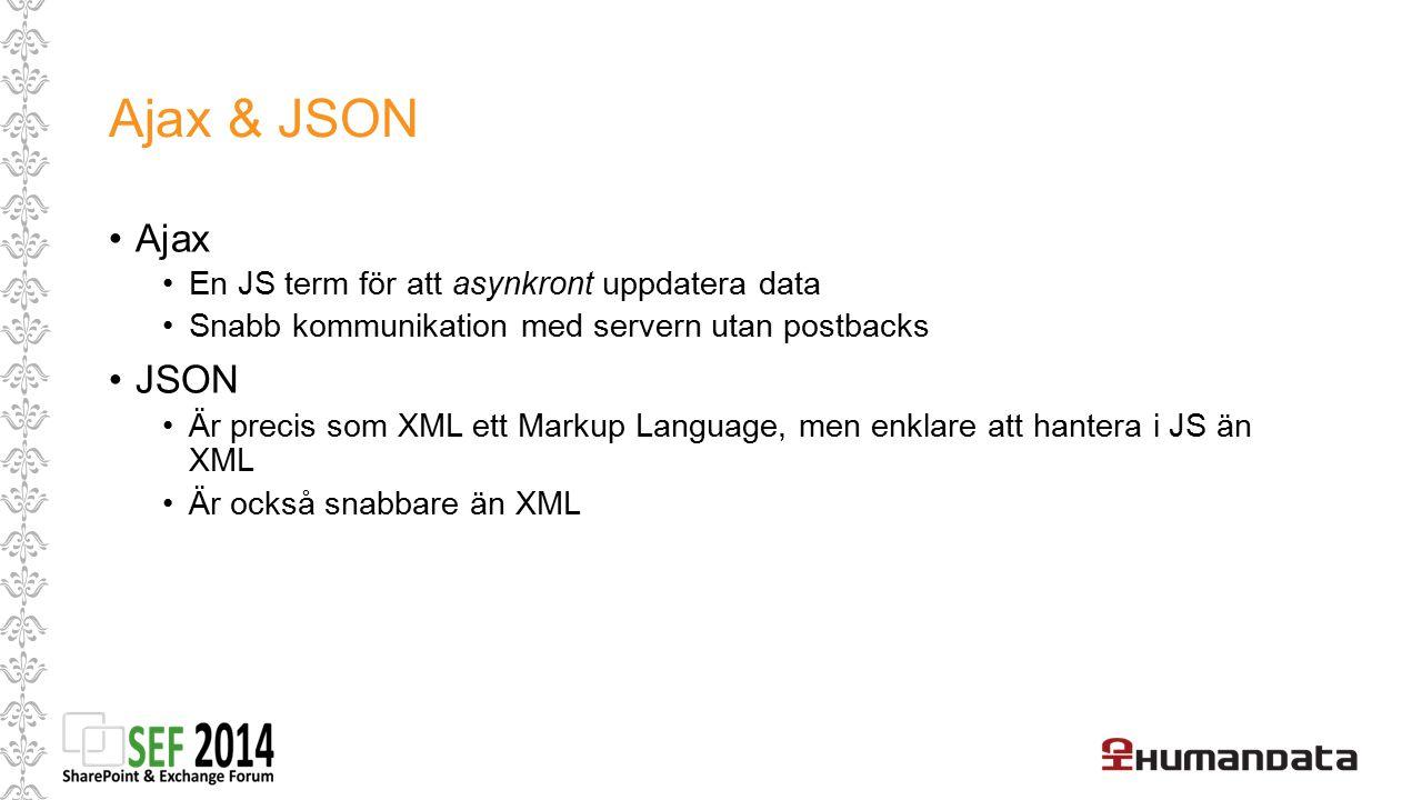 Ajax & JSON Ajax JSON En JS term för att asynkront uppdatera data