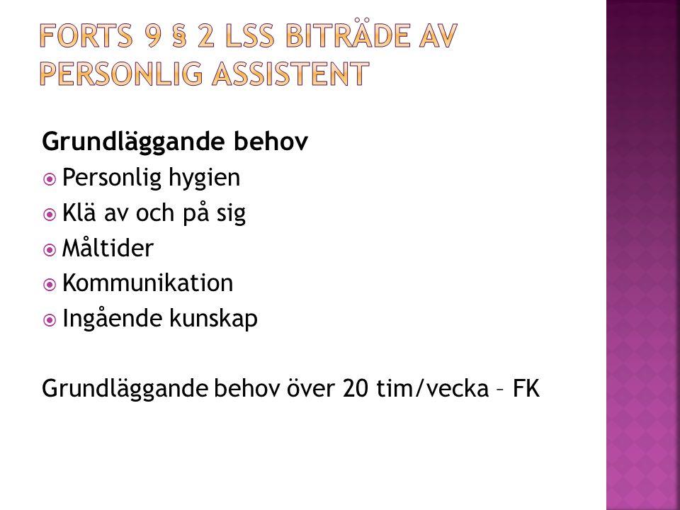 Forts 9 § 2 LSS biträde av personlig assistent