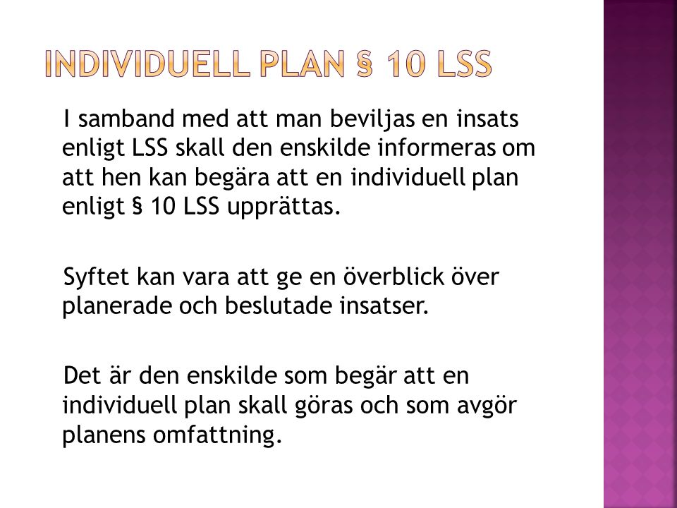 Individuell plan § 10 Lss
