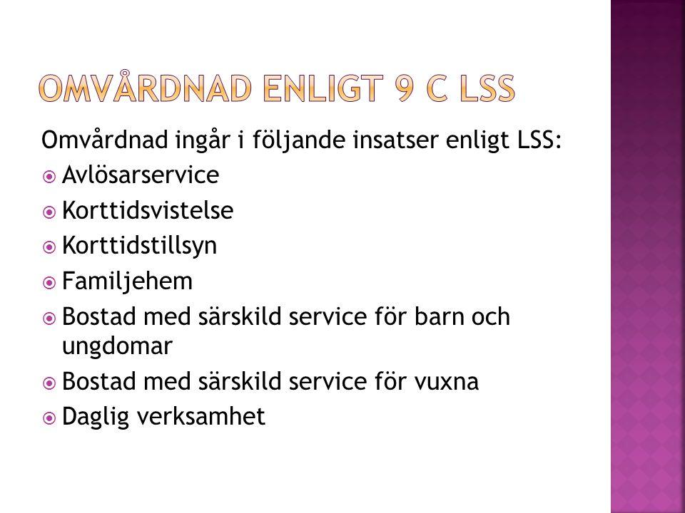 Omvårdnad enligt 9 c LSS Omvårdnad ingår i följande insatser enligt LSS: Avlösarservice. Korttidsvistelse.