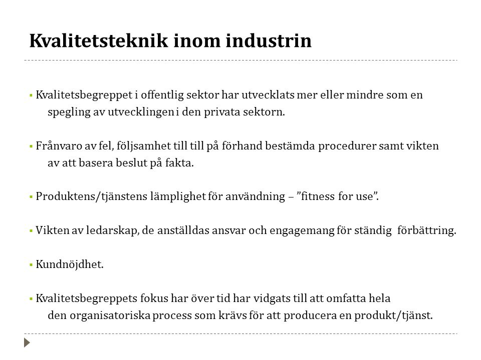 Kvalitetsteknik inom industrin