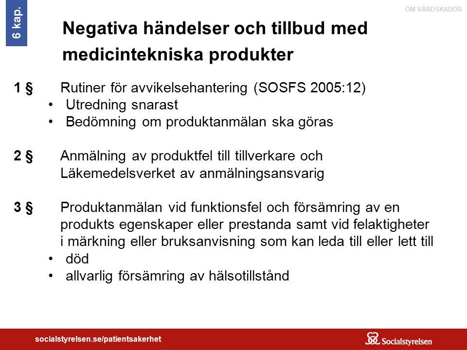 Negativa händelser och tillbud med medicintekniska produkter