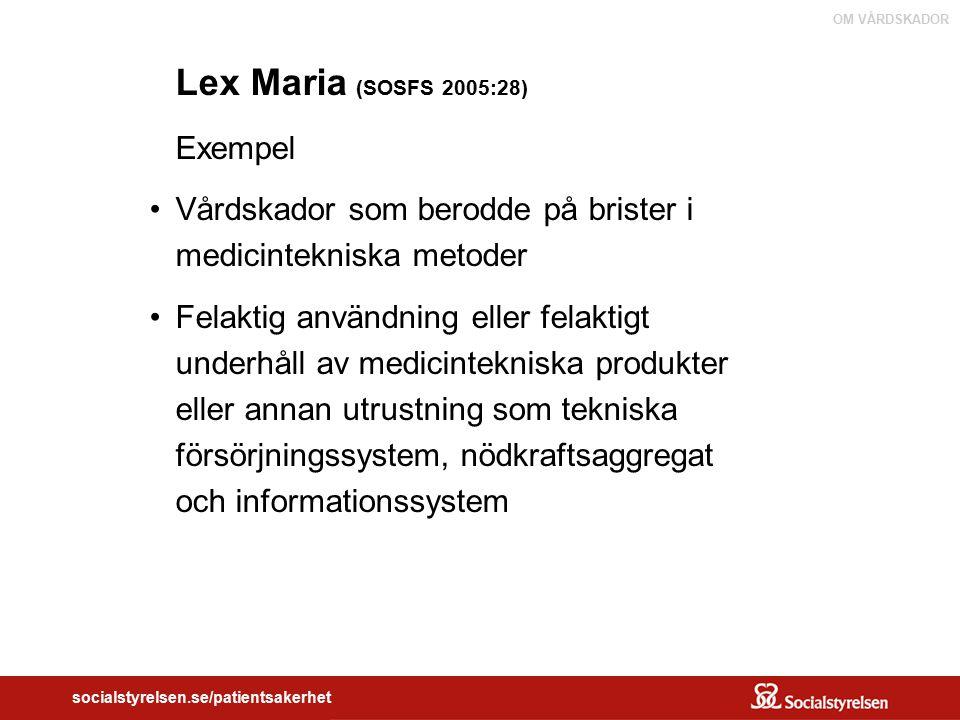 Lex Maria (SOSFS 2005:28) Exempel. Vårdskador som berodde på brister i medicintekniska metoder.