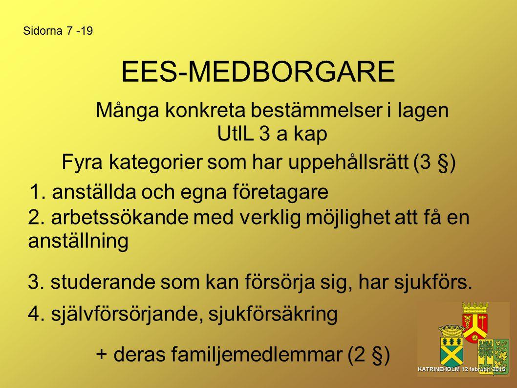 EES-MEDBORGARE Många konkreta bestämmelser i lagen UtlL 3 a kap