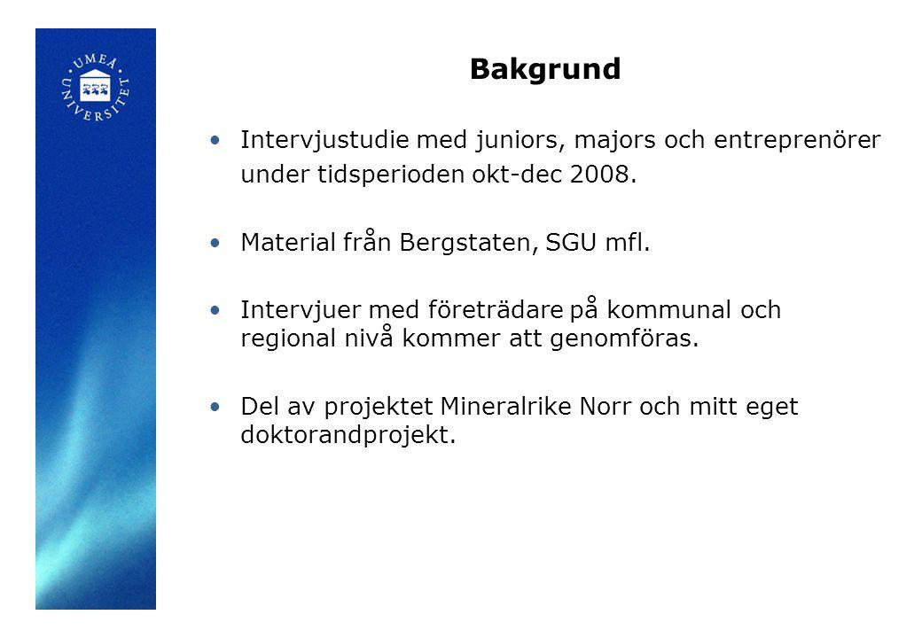 Bakgrund Intervjustudie med juniors, majors och entreprenörer