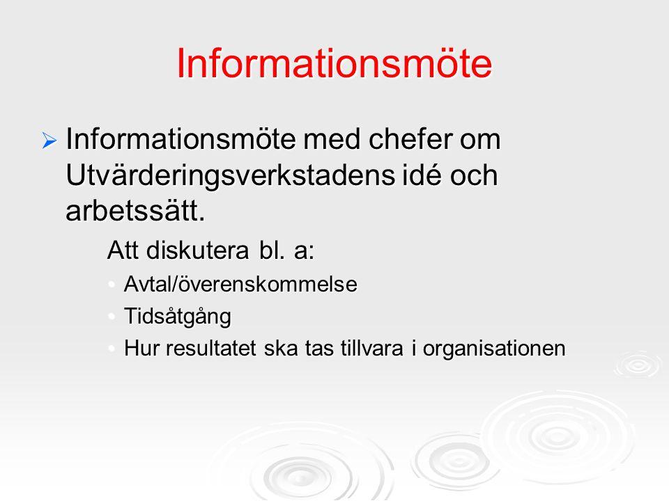 Informationsmöte Informationsmöte med chefer om Utvärderingsverkstadens idé och arbetssätt. Att diskutera bl. a: