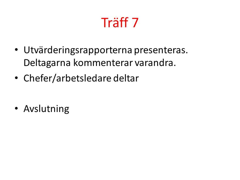 Träff 7 Utvärderingsrapporterna presenteras. Deltagarna kommenterar varandra. Chefer/arbetsledare deltar.