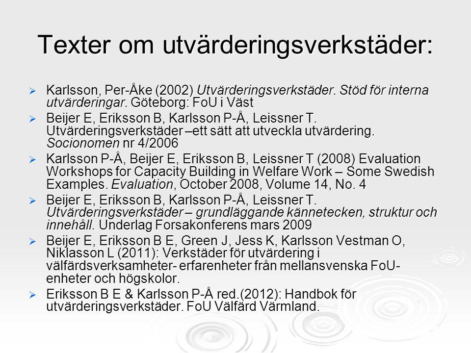 Texter om utvärderingsverkstäder: