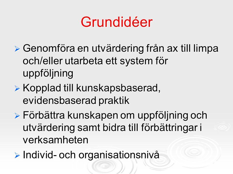 Grundidéer Genomföra en utvärdering från ax till limpa och/eller utarbeta ett system för uppföljning.