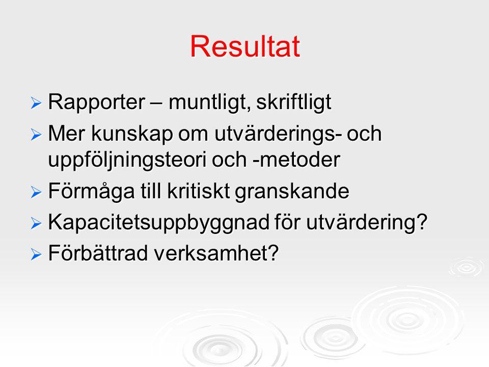 Resultat Rapporter – muntligt, skriftligt