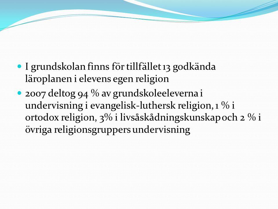 I grundskolan finns för tillfället 13 godkända läroplanen i elevens egen religion