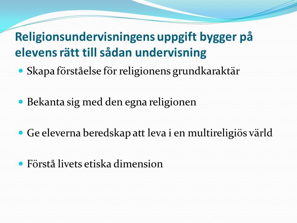 Religionsundervisningens uppgift bygger på elevens rätt till sådan undervisning