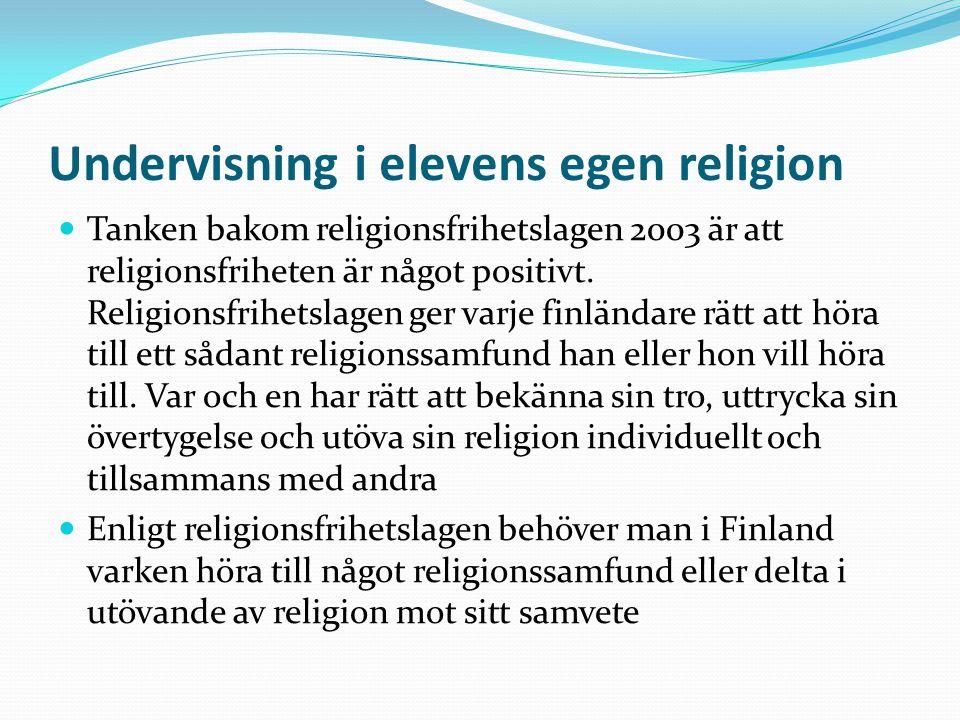 Undervisning i elevens egen religion