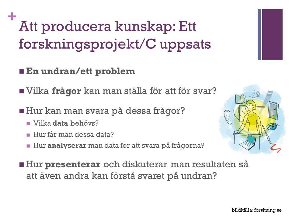 Att producera kunskap: Ett forskningsprojekt/C uppsats