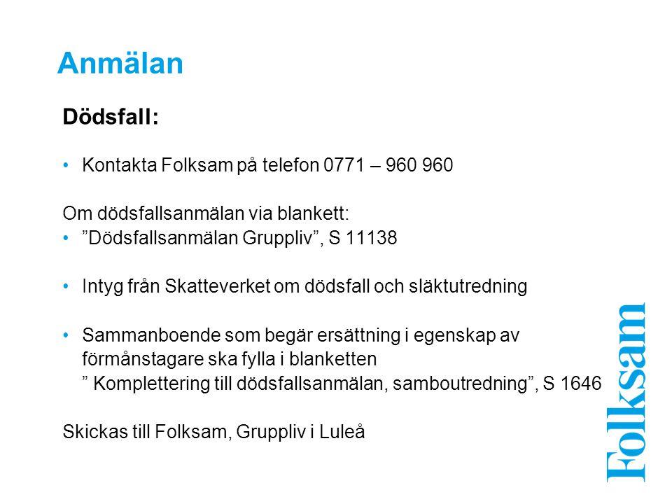 Anmälan Dödsfall: Kontakta Folksam på telefon 0771 – 960 960