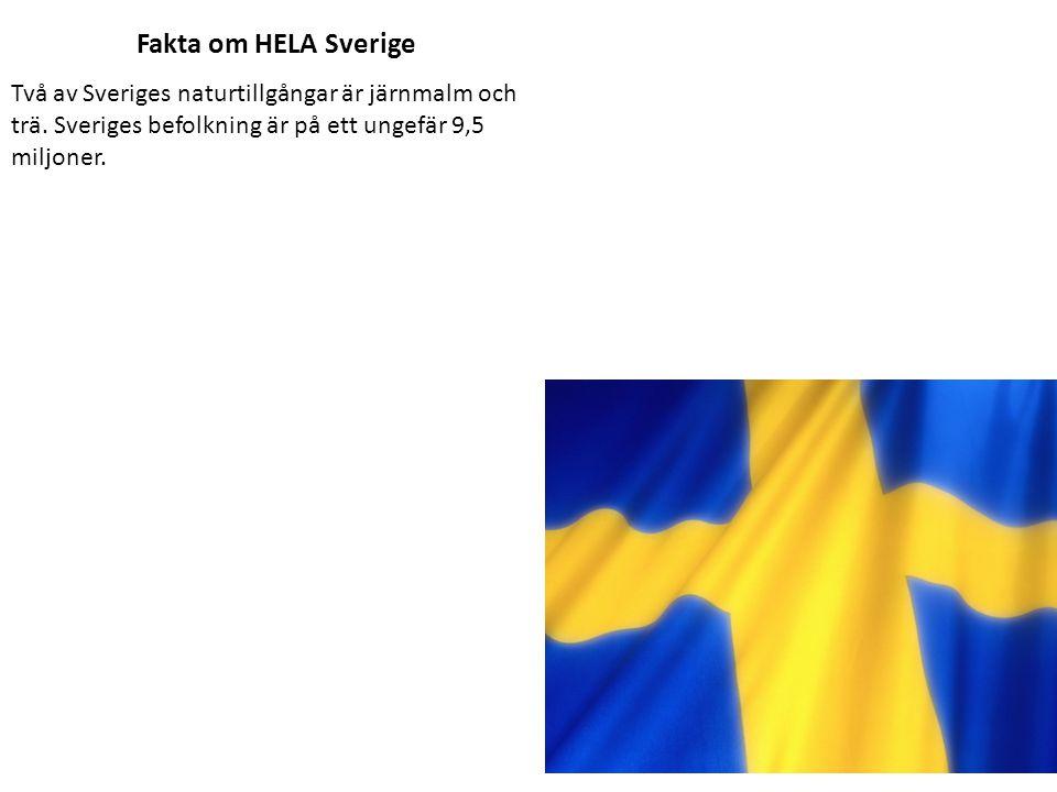 Fakta om HELA Sverige Två av Sveriges naturtillgångar är järnmalm och trä.