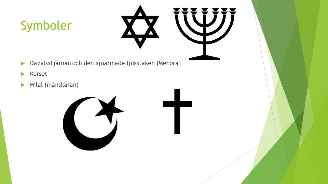 Symboler Davidsstjärnan och den sjuarmade ljusstaken (Menora) Korset