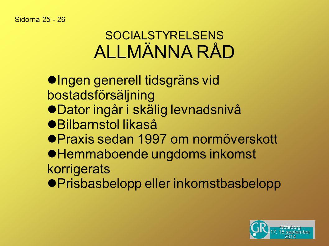 SOCIALSTYRELSENS ALLMÄNNA RÅD