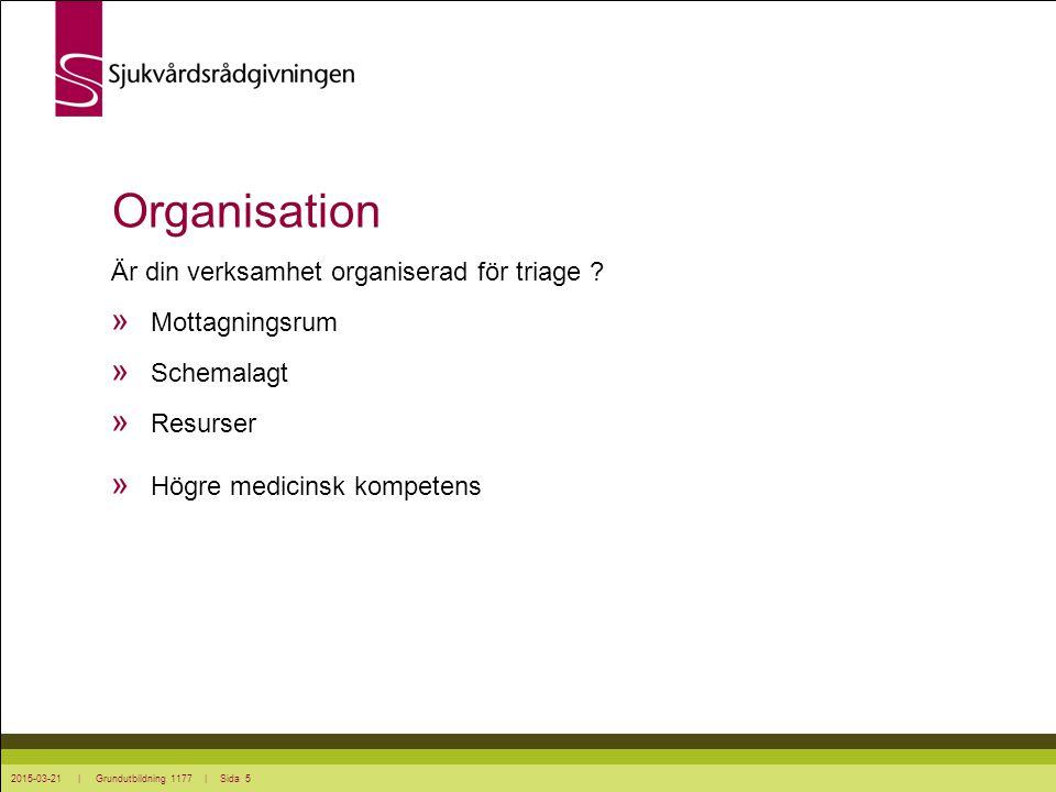 Organisation Är din verksamhet organiserad för triage Mottagningsrum