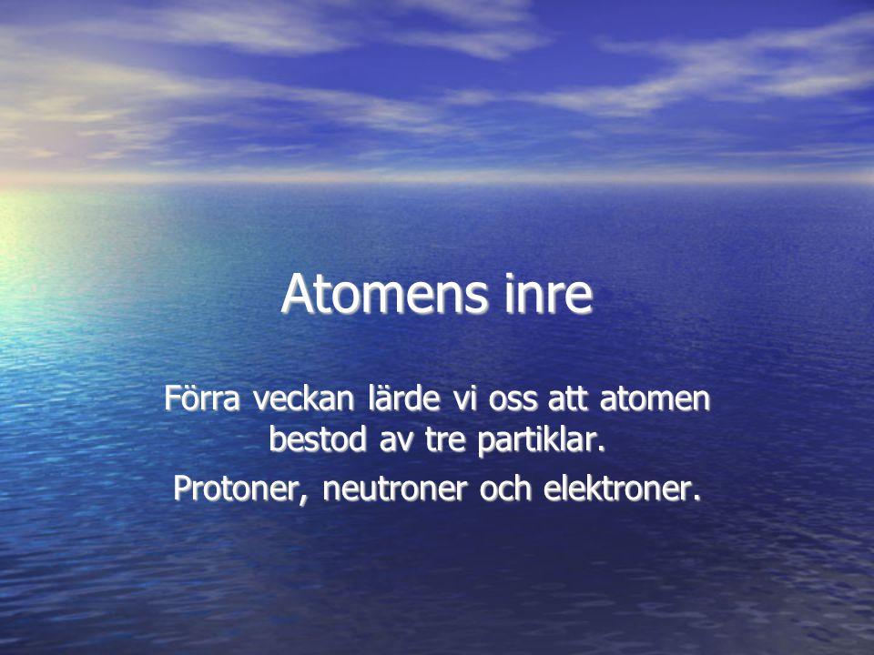 Atomens inre Förra veckan lärde vi oss att atomen bestod av tre partiklar.
