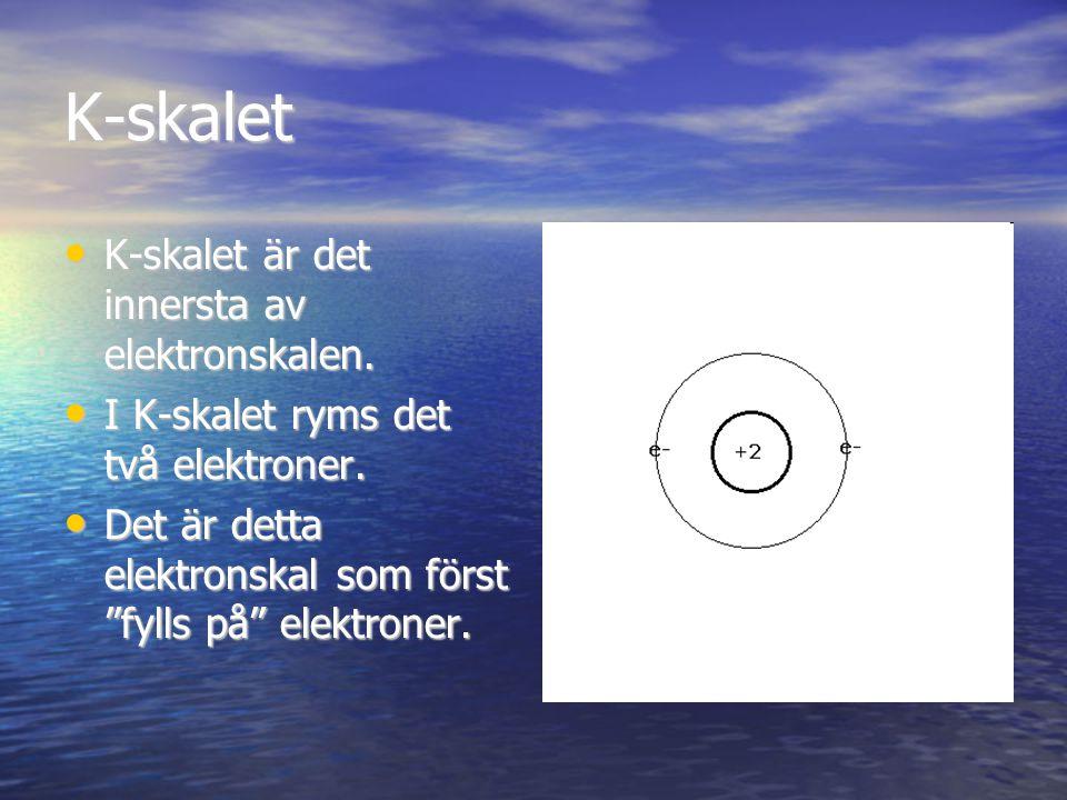 K-skalet K-skalet är det innersta av elektronskalen.