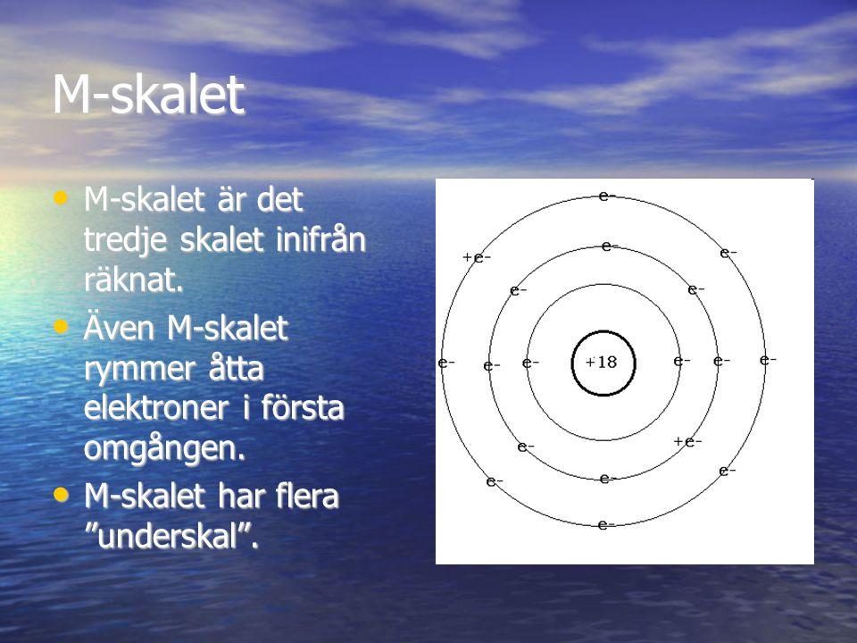 M-skalet M-skalet är det tredje skalet inifrån räknat.