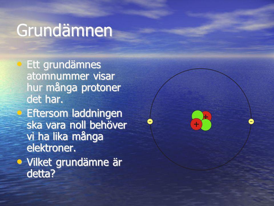 Grundämnen Ett grundämnes atomnummer visar hur många protoner det har.