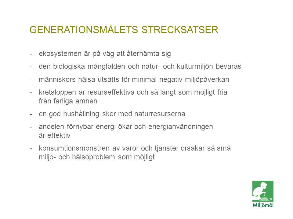 GENERATIONSMÅLETS STRECKSATSER