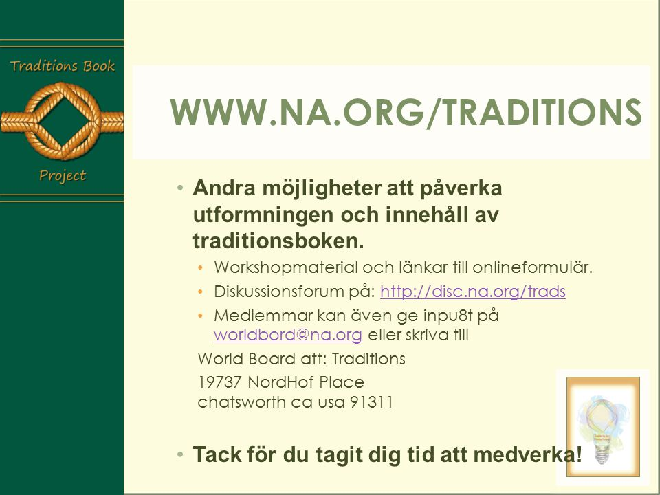 TraditionsBoks Workshop - ppt ladda ner