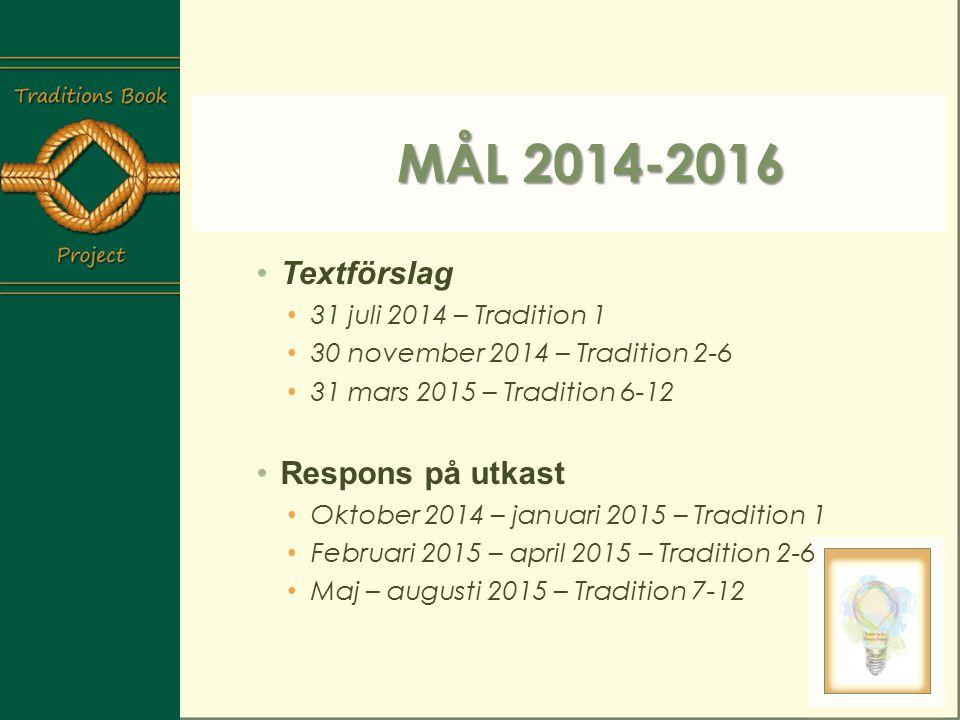 Mål 2014-2016 Textförslag Respons på utkast 31 juli 2014 – Tradition 1