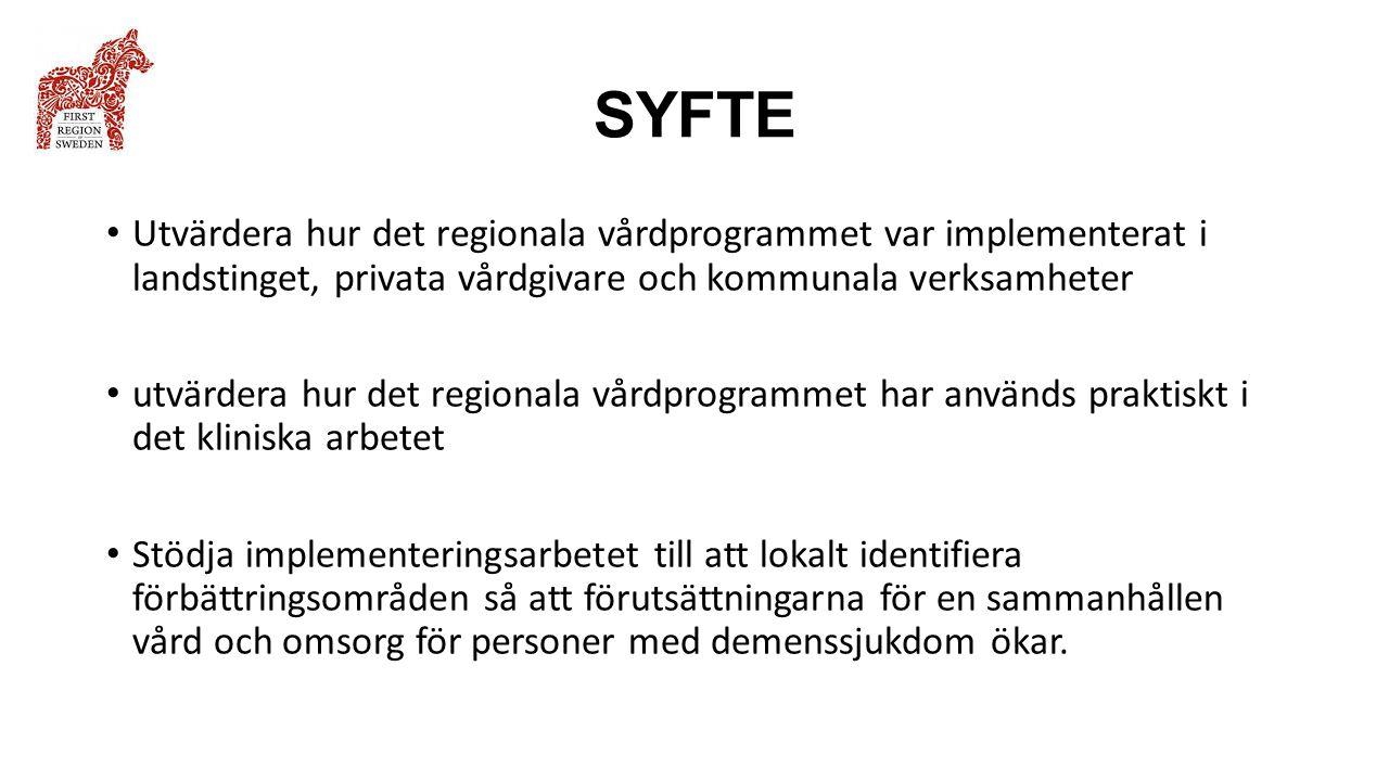 SYFTE Utvärdera hur det regionala vårdprogrammet var implementerat i landstinget, privata vårdgivare och kommunala verksamheter.