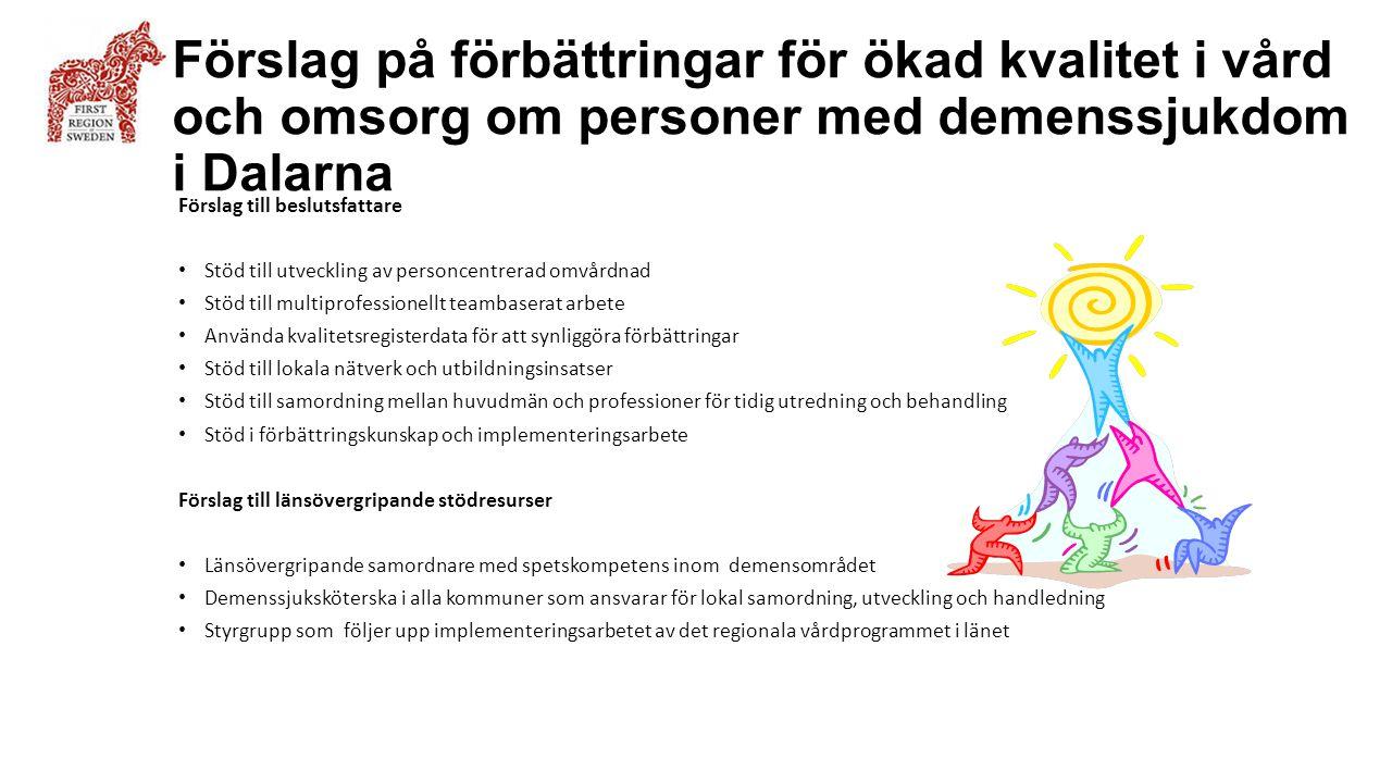 Förslag på förbättringar för ökad kvalitet i vård och omsorg om personer med demenssjukdom i Dalarna