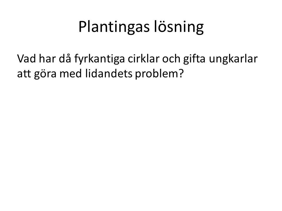 Plantingas lösning Vad har då fyrkantiga cirklar och gifta ungkarlar att göra med lidandets problem