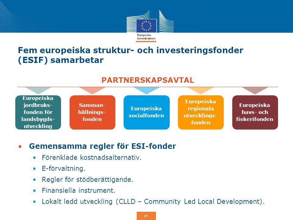 Fem europeiska struktur- och investeringsfonder (ESIF) samarbetar