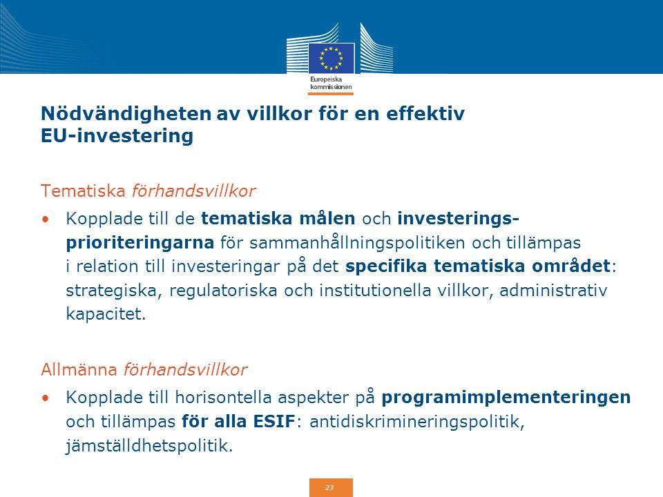 Nödvändigheten av villkor för en effektiv EU-investering