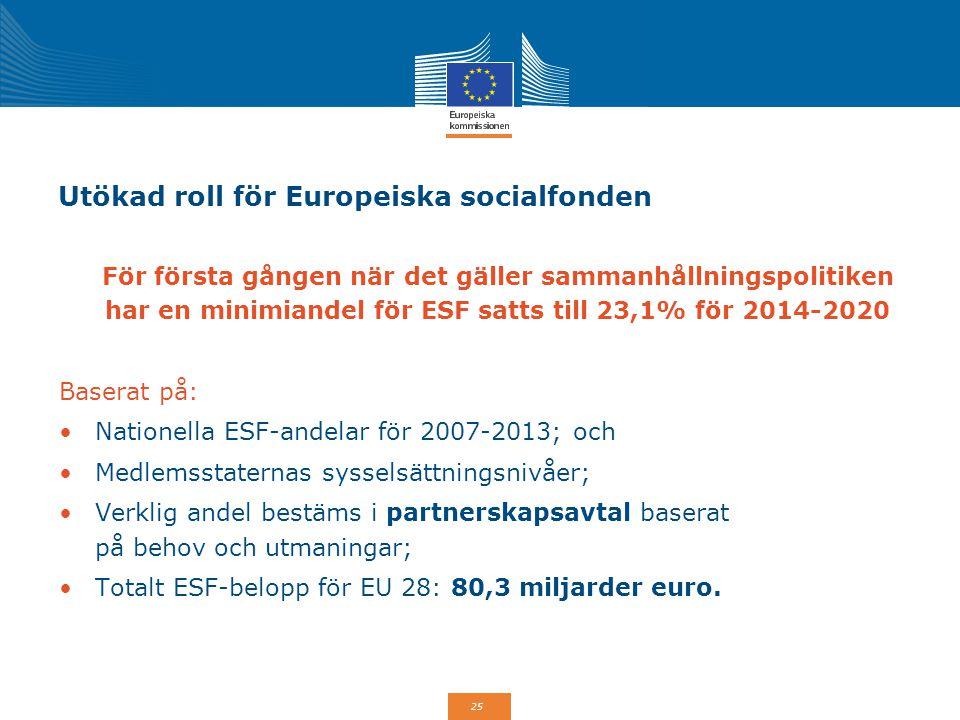 Utökad roll för Europeiska socialfonden