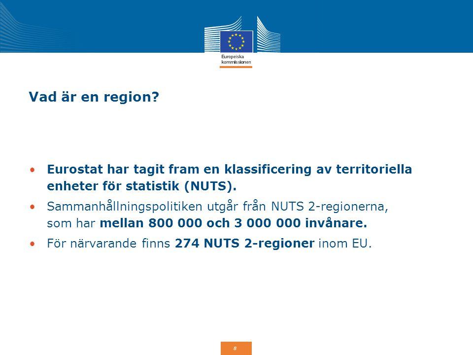 Vad är en region Eurostat har tagit fram en klassificering av territoriella enheter för statistik (NUTS).