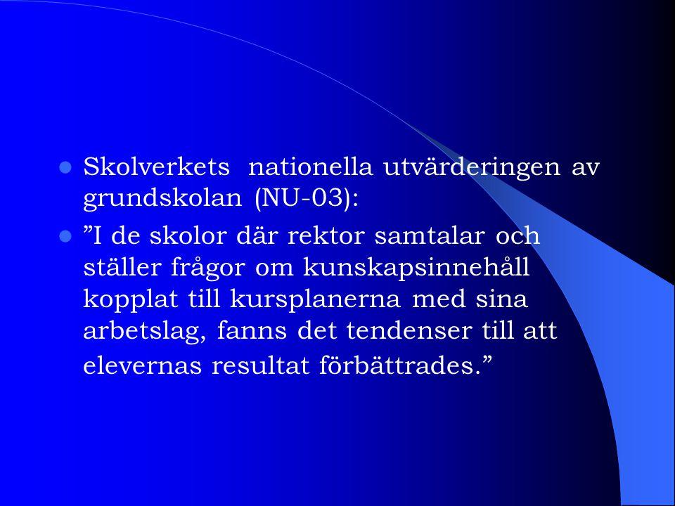 Skolverkets nationella utvärderingen av grundskolan (NU-03):