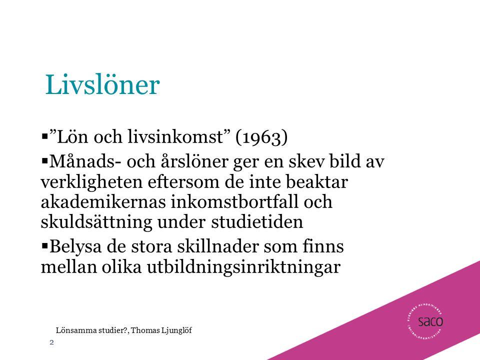 Livslöner Lön och livsinkomst (1963)