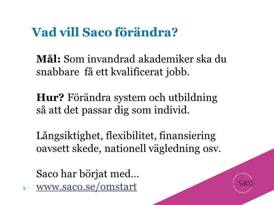 Vad vill Saco förändra Mål: Som invandrad akademiker ska du snabbare få ett kvalificerat jobb.