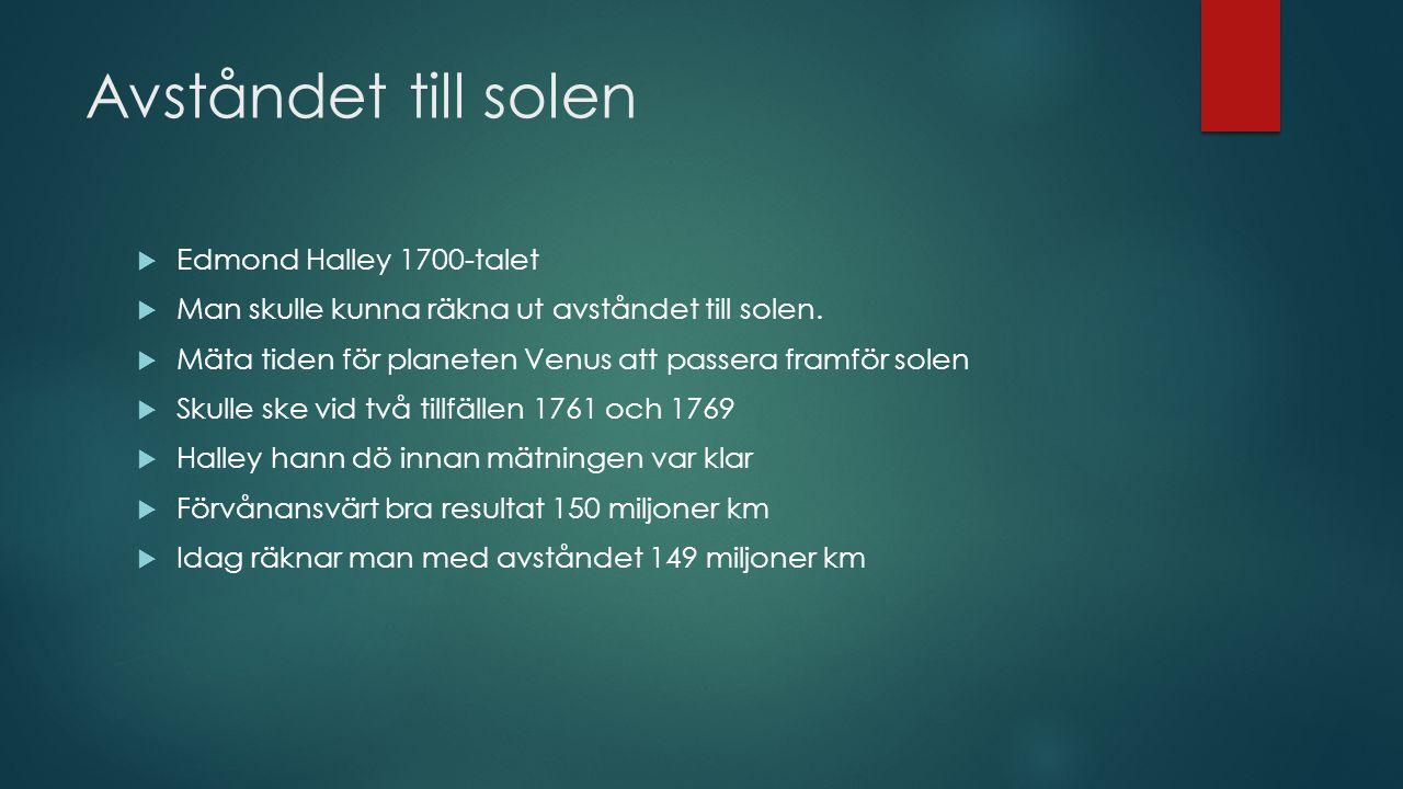 Avståndet till solen Edmond Halley 1700-talet
