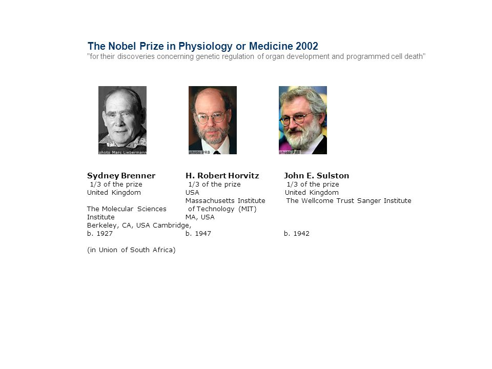 The Nobel Prize in Physiology or Medicine 2002