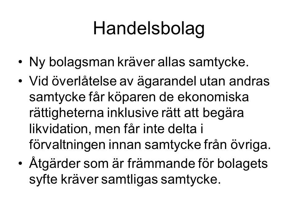 Handelsbolag Ny bolagsman kräver allas samtycke.