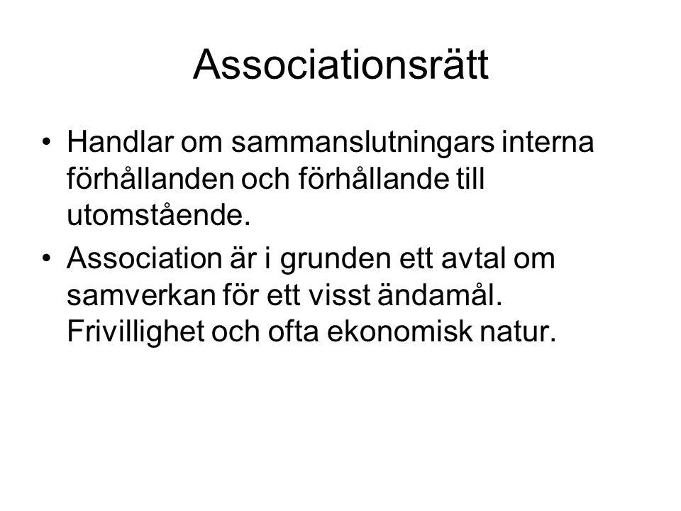 Associationsrätt Handlar om sammanslutningars interna förhållanden och förhållande till utomstående.