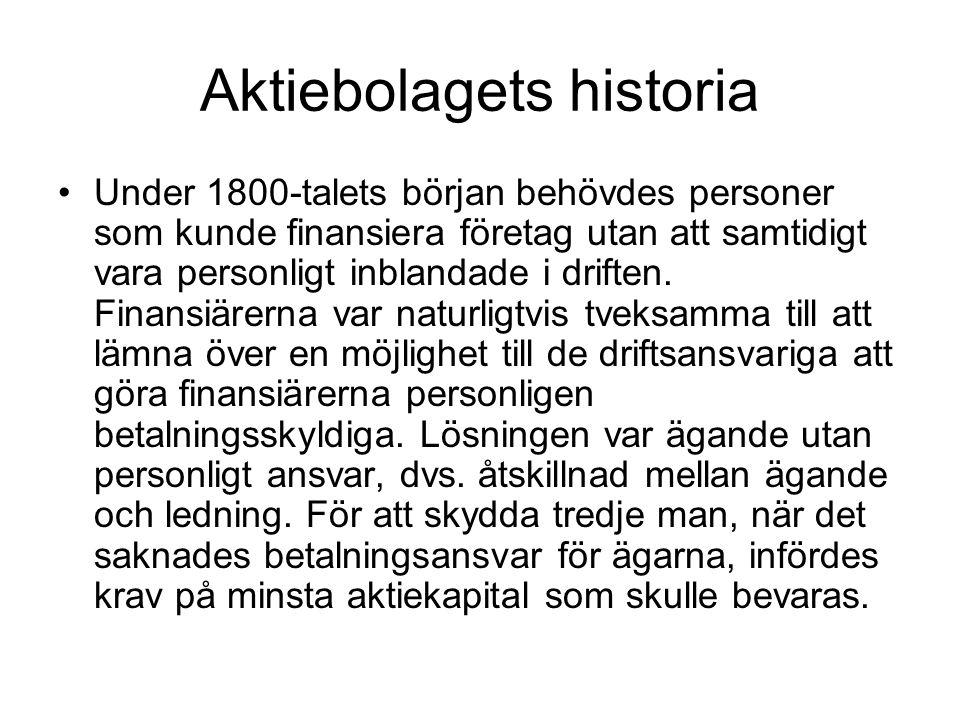 Aktiebolagets historia