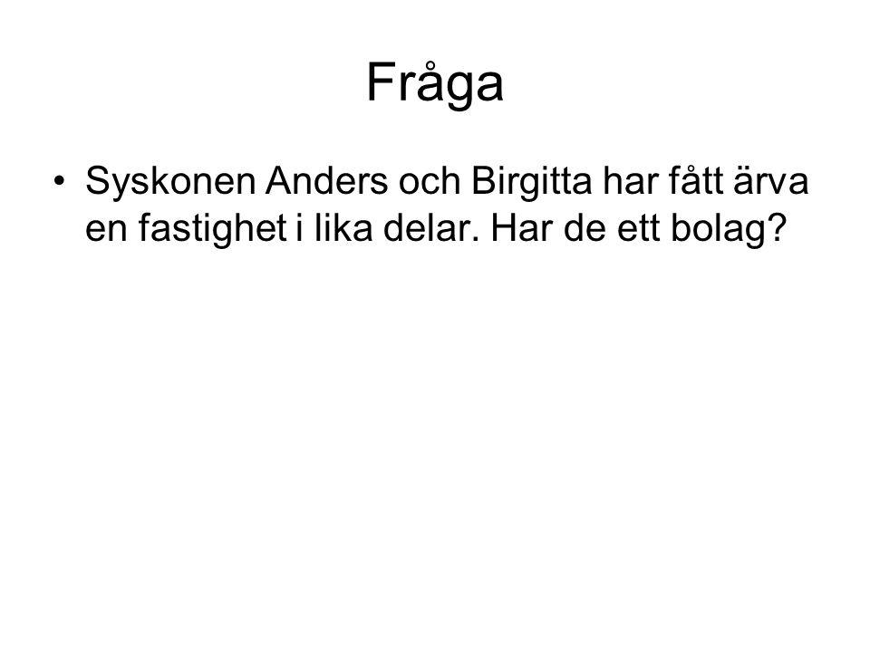 Fråga Syskonen Anders och Birgitta har fått ärva en fastighet i lika delar. Har de ett bolag