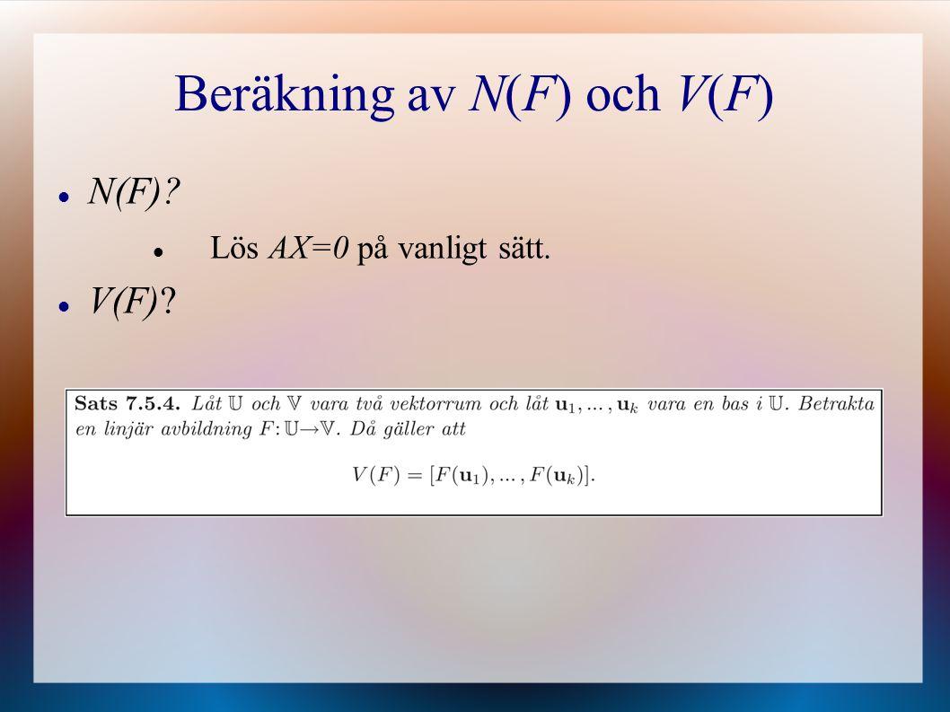 Beräkning av N(F) och V(F)