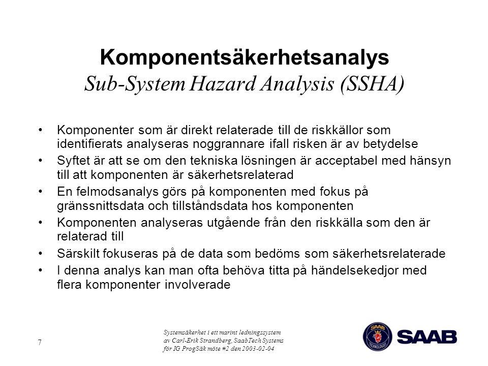 Komponentsäkerhetsanalys Sub-System Hazard Analysis (SSHA)
