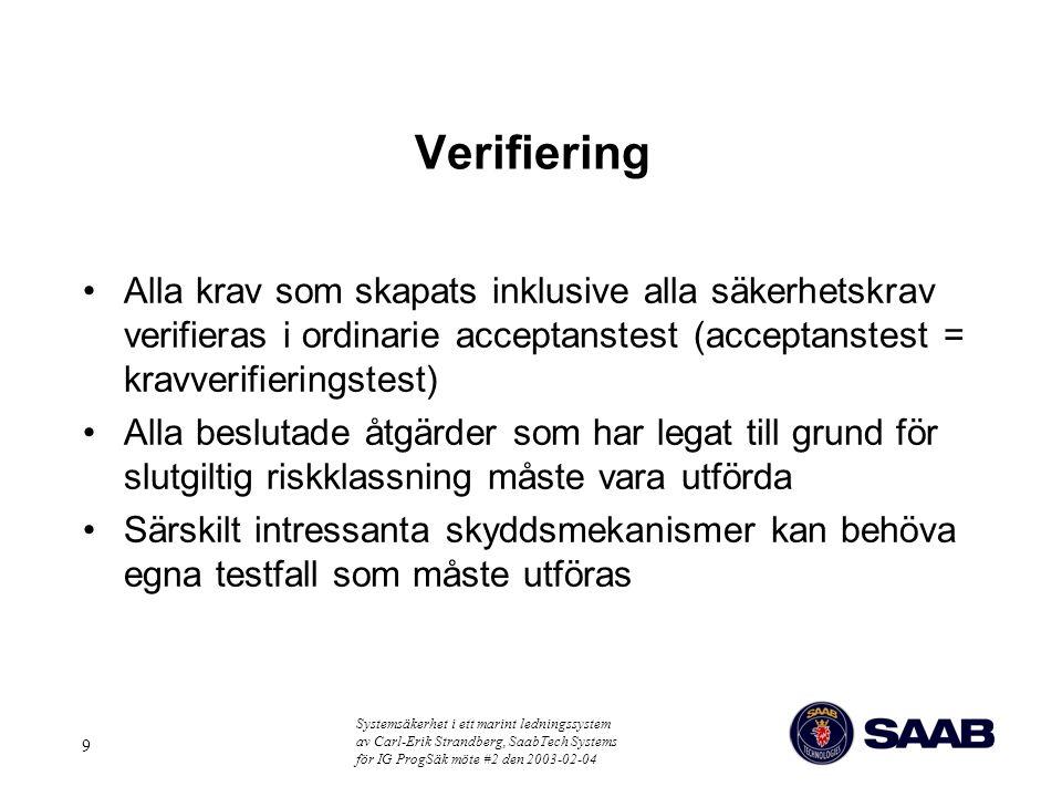 Verifiering Alla krav som skapats inklusive alla säkerhetskrav verifieras i ordinarie acceptanstest (acceptanstest = kravverifieringstest)