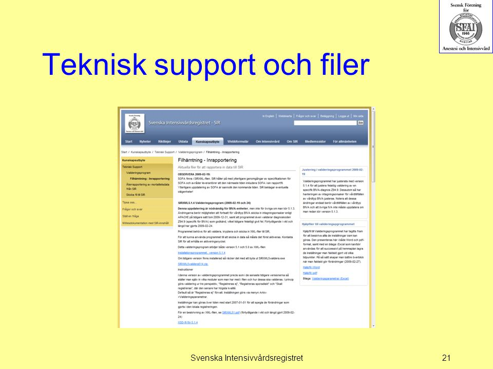 Teknisk support och filer